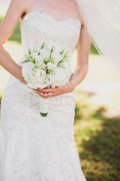 white bouquet captured by Aga Jones Photography http://www.weddingchicks.com/2014/02/28/golf-club-wedding-aga-jones-photography/