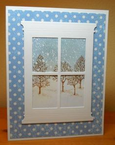 Snowing Outside - SU Lovely as a Tree with the Madison window die.