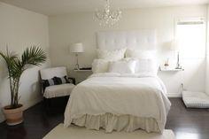 Simple, basic white bedroom.