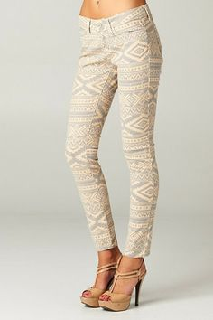 Aztec Pant - Cream skinny jeans, very cute!  Women's spring fashion