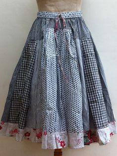 SESAME-CLOTHING...patchwork skirt by Nadir Positano