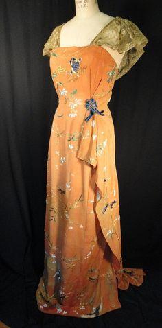 1930s metallic lace dress.