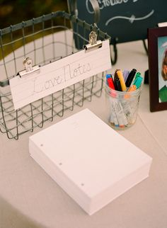 Meg Smith, school-themed wedding, love notes guest book