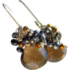 Black Spinel, Bronze Crystals, and Smoky Quartz Cluster Earrings from Gemlynn on Ruby Lane