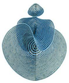 lorenz manifold, blue rooms, squar, math art, color, crochet, spiral, curv, sculptur