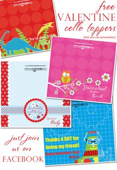 #FREE Valentine cello toppers
