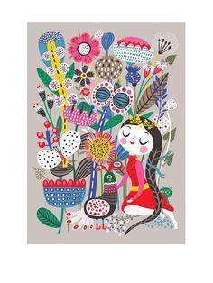 Fiona's Garden Poster - Illustatrion Helen Dardik. Human Empire Store