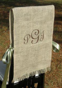 burlap, chair covers, monogram, the bride, chair backs, rustic weddings, wedding chairs, groom, vintage linen