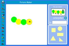 Make pictures from common shapes. Can pupils make shapes bigger and smaller to represent... a caterpillar's legs, windows on a house or bus, apples, etc? What shapes and sizes do they need to represent a block of flats, a house, a lorry? Can they make a face with shapes?