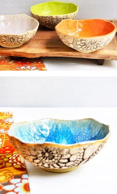 Lee Wolfe Pottery — handmade ceramic bowls. I wonder if my niece can don something like this with her pottery wheel.