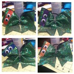 """Ninja Turtle Cheer Bow 3"""" all 4 colors available on Etsy, $15.00"""