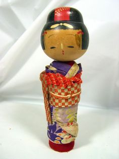 1932 SIGNED Old Vintage Antique Japanese Nodder Doll GEISHA KOKESHI Wood