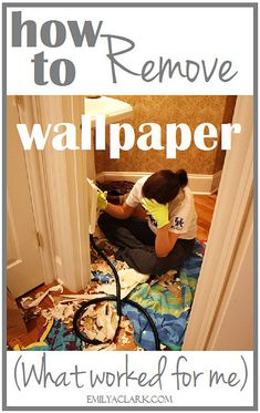 How to remove wallpaper (what worked for me)  http://emilyaclark.blogspot.com/2013/09/removing-wallpaper-what-worked-for-me.html