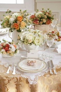 Antique chic autumn table setting
