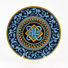 Deruta italian ceramic decoration - Geometric wall plate