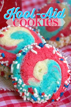 Kool-Aid Cookies ~ cake mix cookies flavored with powdered Kool-Aid, formed and dipped into festive sprinkles!