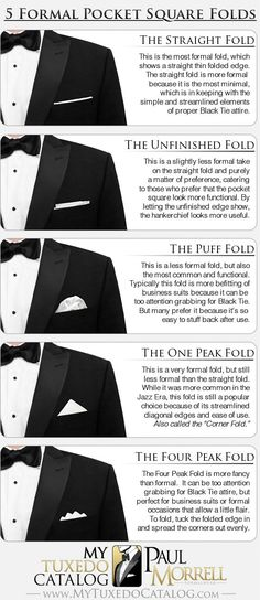 """If one thing is true about looking your best, it's that details matter. "" Learn how to fold 5 pocket squares with this tutorial and try one for your next formal event."
