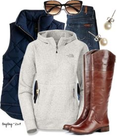 Puffer vest and boots.