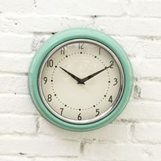 modern clocks, retro kitchen clock, retro clocks, kitchen makeovers, new kitchens, wall clocks, dots, aqua, home offices