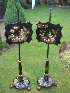 Decorative Pair Antique Papier Mache Pole Screens
