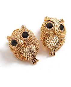golden owl, gold owl, owl earring