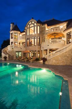 swimming pools, design homes, dreams, home exteriors, dream homes, balconi, outdoor stairs, dream houses, mansions