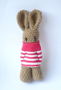 stuffed Amigurumi rabbit , crocheted animal doll,  toy crocheted bunny, baby toy rabbit, red white stripes