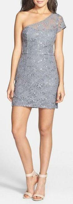 Sequin one shoulder dress.