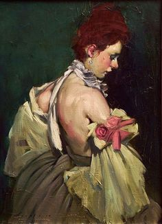 Artist: Malcolm Liepke, b. 1954 {contemporary figurative painter beautiful redhead female profile standing woman face portrait painting #loveart}