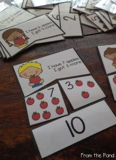 Addition Game Cards - Eating Apples $