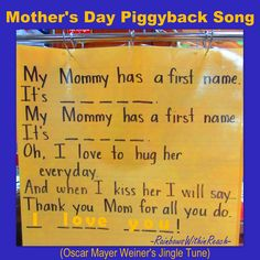 Anchor Chart for Mothers Day, Mothers Day poem, kindergarten Mothers Day song