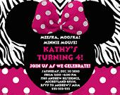 Minnie Mouse Birthday Invitation - Minnie Mouse Birthday Invite - Zebra Background -  Digital File