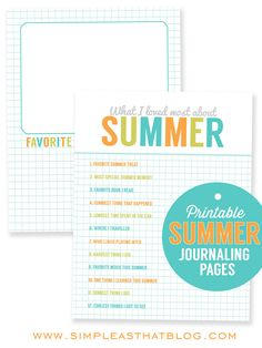 Free Printable Summer Journaling Pages