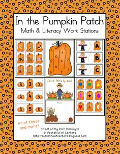 In the Pumpkin Patch Math & Literacy Work Stations $10.00