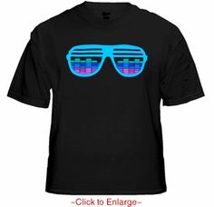 Sunglasses Sounds Reactive E-Qualizer T-Shirt. A Light up sound activated Shutter Shades T-shirt that responds to your voice, music, etc. Price $24.99