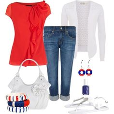 woman fashion, red white and blue outfits, red white blue outfits, cloth, polyvore outfits, casual summer outfits polyvore, 4th of july, fashion women, shirt