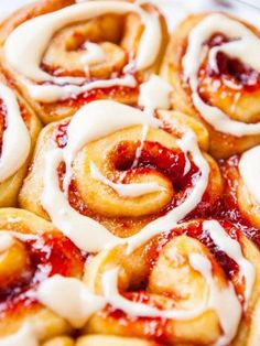 Strawberry Sweet Rolls with Vanilla Cream Cheese Glaze - Soft, buttery rolls loaded with sweet strawberry jam are an automatic hit! There's ...