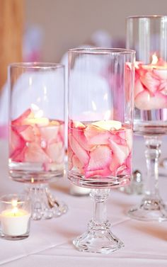 A Simple + Pretty Pink Petals and Floating Candles Centerpiece