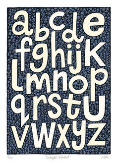 Twilight Alphabet by Lo Cole - Limited Edition Fine Art Print. £75.00, via Etsy.
