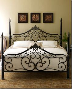 Guinevere Bed from Horchow -   Heavy gauge steel in a beautifully scrolled romantic design, complete with four posts.  $799.00 for a Queen. decor, guest bed, beds, dream, queen, bed frame, wrought iron, guest rooms, bedroom