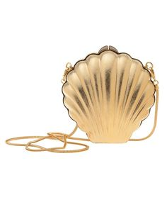 Lanvin Gold Art Deco Brass Shell Clutch _ An Art Deco textured brass shell clutch with polished brass trim by Lanvin. Press-clasp closure. Concealable and removable coiled brass shoulder strap. Brushed silk-satin lining. Designer stamped Lanvin plaque.