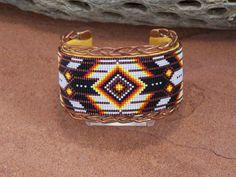 Native American Braided Copper Cuff Bracelet Beaded by LJGreywolf, $200.00