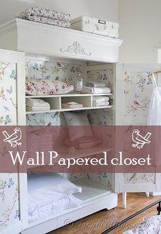 Closet Makeover with wallpaper http://www.songbirdblog.com
