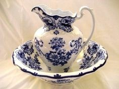 antique pitcher and water basin