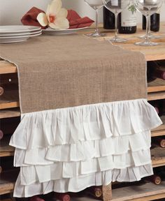 Burlap Ruffle Table Runner. Need this!