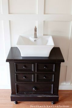 Turning Our Nightstand into Our Bathroom Vanity | Americana® Decor Chalky Finish Paint Review - Southern Revivals