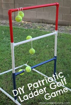 DIY Patriotic Ladder Golf Game (using tennis balls instead of golf balls, MUCH safer for kids!)