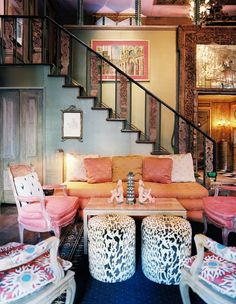 Love the corals and pinks mixed with various patterns and colors.