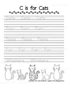 Free Printable! C is for Cats Handwriting Page from Vicki-Arnold.com