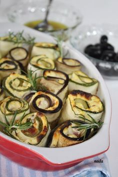 Baked Zucchini and Eggplant Rolls by coolrecepti.blogspot.com #Appetizers #Zucchini #Eggplant